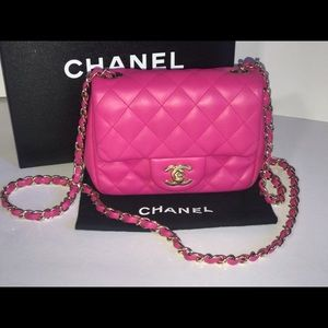 Authentic Chanel quilted mini square flap baguette
